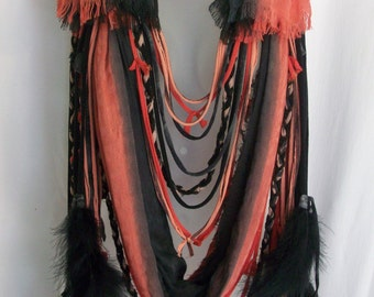Burning man, tribal, festival clothing, costume, statement necklace, festival top, hippie boho bohemian, boho necklace, scarf necklace