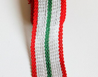 Silver, Green And Red Thread Lace Trim, Approx. 52mm wide - 140316L122