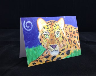 Animal Greeting Card - Wild Amur Leopard Cat Art Stationery