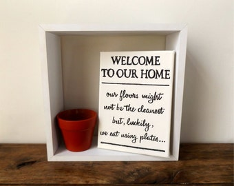 Welcome Home Funny Canvas Wall Art   Kitchen Wall Art   Canvas Wall Art    Handpainted