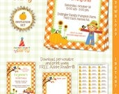 Pumpkin Patch Party Invitation Set - Thank You Note -  Address labels DIY Printable