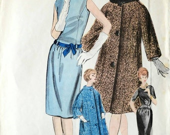 Vintage Vogue Couturier Design dress and coat pattern 1032, Bust 36 inches, 50s dressmaking sewing pattern