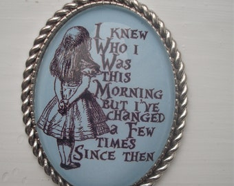 Lovely Handmade Glass cameo necklace alice in wonderland inspired