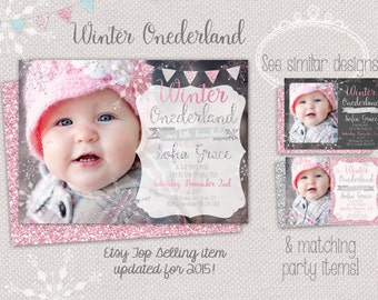 Winter ONEderland photo invitation - snowflake first birthday