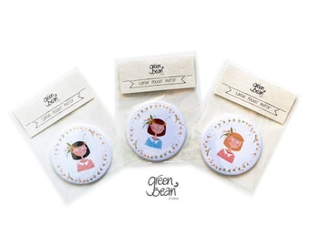 Cute girl pocket mirror- illustrated compact
