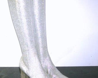 Vintage 1960s Boots Silver go-go Space Age MOD Mad Men Lurex Glittering METALLIC Lame Stretch knee high Chunky Heel Boots Size 6-6.5