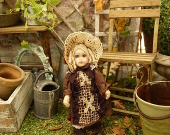 Miniature French antique doll, Romantic ecru lace and brown rayon dress, Jumeau style, Decorative accessory for a dollhouse in 1:12th scale