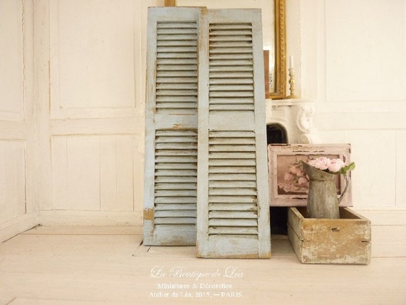 Distressed Shabby Blue Pair Of Shutters French Country