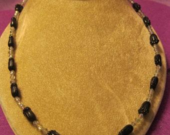 BLACK TULIPS with Irridencent Bicone Beads CHOKER