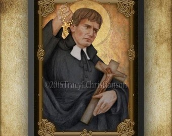 Saint Louis-Marie Grignion de Montfort  Wood Plaque & Holy Card GIFT SET #3123