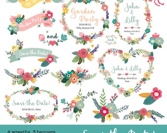 Digital flower Clipart Wreaths, Banners + Bouquets for wedding and etc.. CA_001