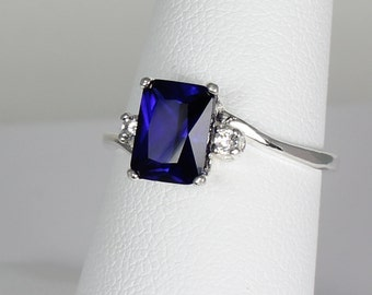 Sterling Silver Blue Sapphire Ring with Diamonds / Blue Sapphire Ring Silver