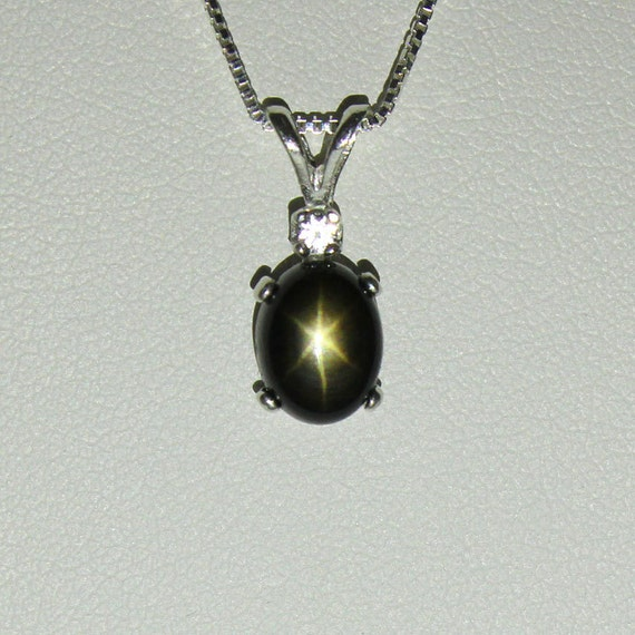 Genuine black star sapphire necklace pendant sterling silver like this item aloadofball Choice Image
