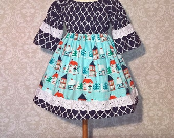 Size 3t Ready to Ship!!! Girls Christmas Dress,  Peasant Dress, Girls and Toddler Christmas Holiday dress