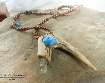 Boho horn necklace, agate and quartz double-encrusted horn, adjustable long necklace - Collection [The Wild] by PLK
