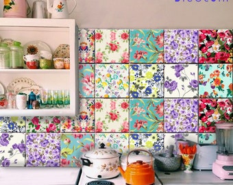 Tile Wall Decal Floral Mix 11 Designs X 4sets 44pcs