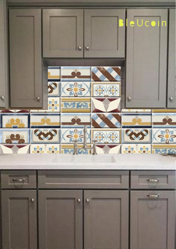 Rectangular tile decal european style 11 designs x by for Kitchen cabinets lowes with removable floor tile stickers