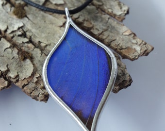 Beet Blue Morpho Necklace