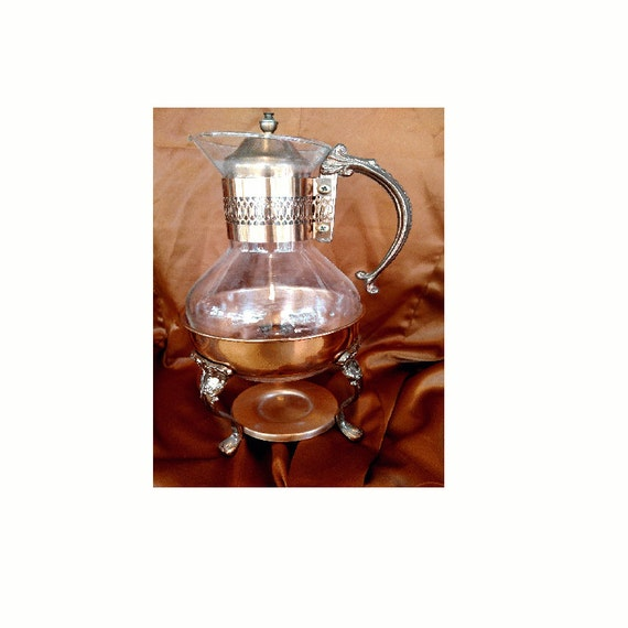 Beautiful Vintage Copper Carafe Glass Chaffing Pot And Stand