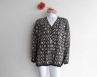 Vintage Button-Up Oversized Patterned Cardigan