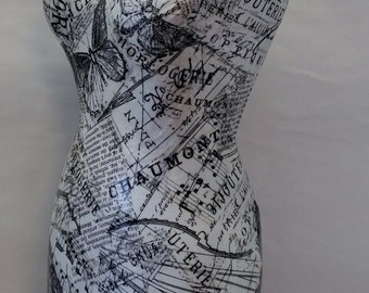 """Decoupage Paper Mache Display Mannequin Butterflies-Musical Notes-Collage 17"""""""