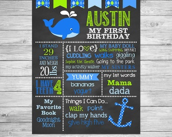 Preppy Whale First Birthday Chalkboard Poster Printable of Favorite Things -  Chalkboard Sign - Whale of a time, Nautical