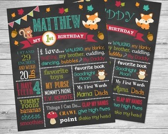 Woodland First Birthday Chalkboard Poster of Favorite Things Printable-  Chalkboard Sign - Fall, Autumn, Woodland Animals