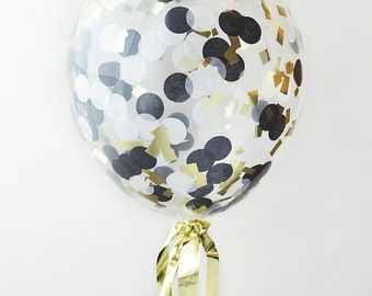 "16"" Clear Latex Confetti Balloon - Black, Gold and white, Custom Balloon, Gold Balloon, Wedding Balloon"