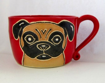Cappuccino/Soup Mug, tan and black pug mug, birthday gift, pottery mug, pug mug, pug art, holds 24 oz., food, dishwasher and microwave safe.