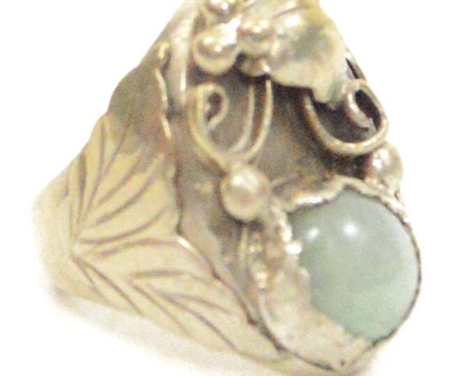 Vintage Navajo Native American Floral Sterling Silver Quartz Inlay 10.5 Ring