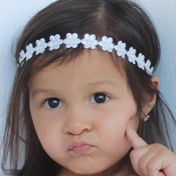 Flower Baby Headband, Girl Headband, Flower Headband Baby, Flower Headbands, Silver Baby Headband, Baby Halo Headband, Baby Headband