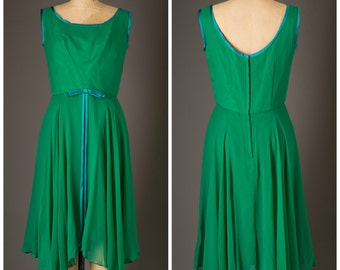 1960s Emma Domb Kelly Green Chiffon Dress