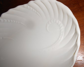 1950s milk glass meat platters white milk glass MARKED Made In USA swirl nautilus shell design