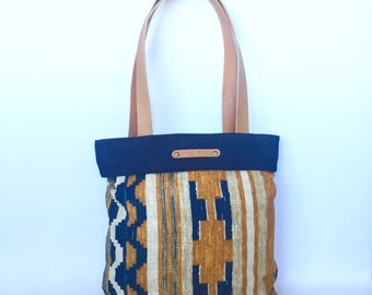 Tilda Shopping Tote:  Screen printed Linen in mustard and Blue, with Denim and Utility Leather.