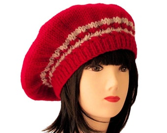Red Beret, Knit Beret, Knit Hat, Cable Knit Hat, Beret Hats for Women, Winter Beret, Winter Knit Hat, Womens Winter Hat, Sue Maun