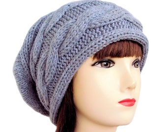 Grey Slouchy Beanie, Womens Slouchy Hat, Womens Grey Hat, Knit Beanie, Cable Knit, Slouch Hat, Beanie Hats by Sue