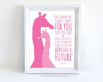 For I Know The Plans I Have For You - Christian Scripture Giraffe Nursery Art - Jeremiah 29:11 - 8x10 Print