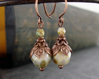 Victorian Woodland Earrings - Rustic Green and Copper Boho Renaissance Style Ren Faire Jewelry - Bohemian Vintage Style Small Bead Earrings