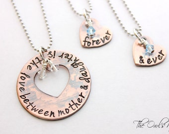 Hand Stamped 3 piece Mother Daughter Copper Necklace Set
