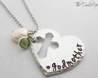 Hand Stamped Godmother Necklace - Baptism -