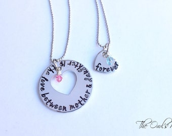 SALE Hand Stamped Mother Daughter Necklace Set The Love Between Mother & Daughter Is Forever