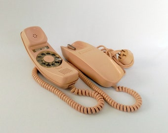 Vintage Rotary Phone, Four Prong Plug, Trimline Retro Telephone, Mid Century Modern Phone, Trimline Phone, Office Decor