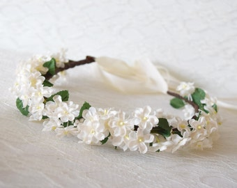 Rustic Flower Crown, wedding hair accessories, floral crown, bridal crown, ivory flower crown, wedding tiara, flower circlet, - OPHELIA -