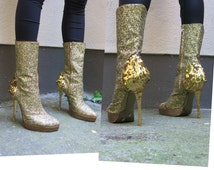 sale sale sale++VIVIENNE WESTWOOD vtg gold glitter paillettes high heel boots EU 39