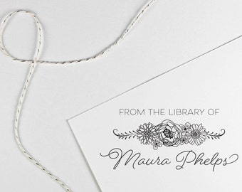 From the library of stamp customized with name, floral book belongs to, teacher gift, self inking or rubber stamp