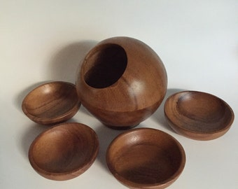 Mid Century Wooden Orb Nut Bowl with Four Plates
