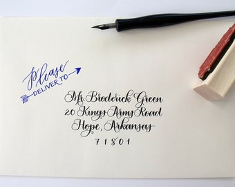 Please deliver to, hand calligraphy stamp | stationery | gift