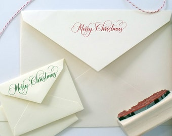 Merry Christmas hand calligraphy stamp | gift wrap | holidays | stationery