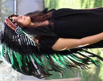 PRICE REDUCED Y17 Medium  Green  Feather Headdress (36  inch long )/ war bonnet