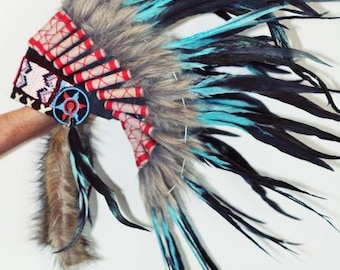 Indian Light Blue / Turquoise  and dark Feather Headdress / Warbonnet..